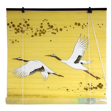 Oriental Furniture - Cranes Shoji Blinds - (48 in. x 72 in.) - In Japanese folklore, the Red-Crowned Crane was said to have a lifespan of one thousand years, and as such has come to symbolize luck and longevity. It also represents fidelity, a distinction earned by the fact that this resplendent bird mates for life. This shoji paper blind will meet many of your decorating needs.