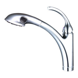 YOSEMITE HOME DECOR - Single Handle Pull out Kitchen Faucet with Pull out Spout Sprayer No Popup Drain - This is a stylish Singe Handle Kitchen Faucet with Pull-out Sprayer in beautiful polished chrome finish. Complementing its tempting curves and sleek finish is its solid brass construction and ceramic valve cartridge, ensuring durability and reliability. It has a single lever-type handle, a stationary high arc spout and can be deck-mounted on single hole. Specifications: water flow rate is 2.2 GPM,  100% Pressure System Tested 700kPa - 1200kPa, stand height is 13 inches, spout height is 10  inches, spout reach is 10.5 inches, ADA, cUPC, CSA B125.1, and AB1953 compliant This faucet requires low maintenance and is easy to clean. Pop up drain not included.