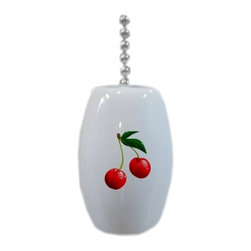 Carolina Hardware and Decor, LLC - Cherries Cherry Fruit Ceramic Fan Pull - 2 inch ceramic fan, light, or lamp pull with six inch chain included. Item(s) can be wiped clean with a soft damp cloth.  Great addition and nice finishing touch to any room.