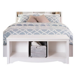 Prepac - Prepac Monterey White Cubby Bench - Prepac - Bedroom Benches - WSC4820 - This practical storage bench for the foot of the bed is the perfect companion to the Monterey Double/Queen Headboard (sold separately). With its enchanting decorative detail it will be the perfect addition to a bedroom with a country or casual decor.