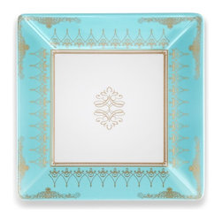 "7.25"" Pembroke Salad Plate - Gold Leaf Border Square Plate"