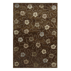 """MSR3267C Martha Stewart Rug - 2'6""""x4'3"""" - Artistically blending the weaving cultures of Japan and Italy, the overall flower motif of Garland was adapted from a lavishly embroidered vintage kimono, and then richly embellished with a vermicelli pattern found in Italian silks since the 18th century. This versatile design is created with shimmering viscose yarns for pattern definition against a luxuriously thick matte textured background of fine New Zealand wool."""