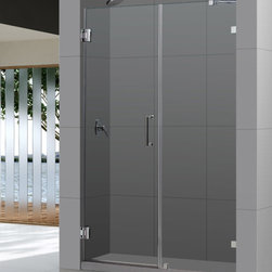 """Dreamline - UnidoorLux 54"""" Frameless Hinged Shower Door, Clear 3/8"""" Glass Door - The UnidoorLux shower door shines with a sleek completely frameless glass design. Premium thick tempered glass combined with high quality solid brass hardware deliver the look of custom glass at an incredible value."""