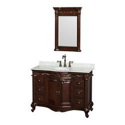 "Wyndham Collection - Edinburgh 48"" Cherry SGL Vanity, Carrera Marble Top, UM Rd Sink, 24"" Mrr - Form and function collide beautifully in the Edinburgh bathroom vanities. Inspired by the classic designs of Victorian England, this collection is a hallmark of taste and style, destined to become an heirloom and to lend a subtle grace to your bathroom environment. Richness of finish, beautiful composition and great attention to detail are the marks of this series."