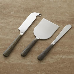 Taz 3-Piece Cheese Tool Set - Stainless-steel handles with a distressed, antiqued bronze finish make a rustic serving statement for all types of cheese. Mirror-finish stainless steel tools include pronged cheese knife, paddle cutter and spreader.