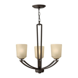Hinkley Lighting - Hinkley Lighting Parker Transitional Chandelier X-ZK3344 - The metal frame has been artfully designed to mimic the look of a rustic, hand-crafted and detailed fixture and is finished in Buckeye bronze. With beautiful molded etched amber linen glass that has the appearance of one-of-a-kind hand-blown glass, this chandelier is striking when lit. The Hinkley Lighting Parker Transitional chandelier brings elegance anywhere you please.