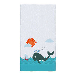 "Eco Friendly ""Whale Watching"" Bath Hand Towel - Hand Towels are made of a super soft poly fiber fabric with 2mm pile."