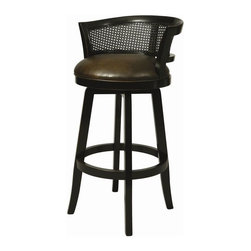 """Pastel Furniture - Pastel Furniture Grand Palace 30 Inch Swivel Barstool - This handsomely crafted Grand Palace wood barstool features a quality wood finish in Weather Black with sturdy legs and foot rest. An ideal way to add a touch of Traditional flair to any dining or entertaining area in your home. The padded seat is upholstered in Stallion Burnt offering comfort and style. (Available in 26"""" counter height or 30"""" bar height.)"""