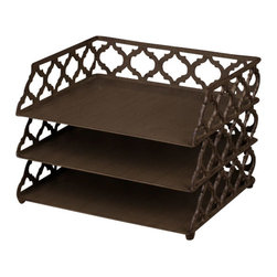 """Gracious Goods GG - GG Collection Ogee-G 3 Tiered Document Tray - An essential for keeping tasks organized! Three levels of bronzed beauty sit one on top of the other to keep your home and business office organized to perfection.  Beautiful metal scroll work in the new Ogee-G design makes this desk accessory timeless and stunning. Our much loved Ogee-G Collection is a new Gracious Goods line with a contemporary twist. Match with our other Gracious Goods desktop accessories to complete your set.   * Dimensions: W: 13"""" D: 10.5"""" H: 9"""""""