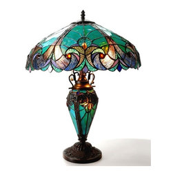 Victorian Table Lamp - LIAISON' Tiffany-style Victorian 3 Light Double Lit Table Lamp 18' Shade