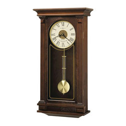 HOWARD MILLER - Howard Miller Sinclair Wall Clock with Triple-chime Harmonic Movement - Finished in Cherry Bordeaux on select hardwoods and veneers)