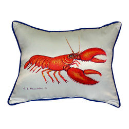 Betsy Drake - Betsy Drake Red Lobster Pillow- Indoor/Outdoor - Red Lobster Pillow- Large indoor/outdoor pillow. These versatile pillows are equal at enhancing your homes seaside decor and adding coastal charm to an outdoor setting arrangment. They feature printed outdoor, fade resistant fabric for years of wear and enjoyment. Solid back, polyfill. Proudly made in the USA.