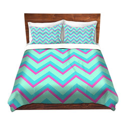 DiaNoche Designs - Duvet Cover Twill - Fairy Heaven Mint II Chevron - Lightweight and super soft brushed twill Duvet Cover sizes Twin, Queen, King.  This duvet is designed to wash upon arrival for maximum softness.   Each duvet starts by looming the fabric and cutting to the size ordered.  The Image is printed and your Duvet Cover is meticulously sewn together with ties in each corner and a concealed zip closure.  All in the USA!!  Poly top with a Cotton Poly underside.  Dye Sublimation printing permanently adheres the ink to the material for long life and durability. Printed top, cream colored bottom, Machine Washable, Product may vary slightly from image.