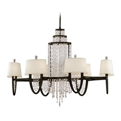 Corbett Lighting - Corbett Lighting Viceroy Transitional Chandelier X-210-031 - The Corbett Lighting Viceroy Transitional chandelier features waves of elegantly draped crystal chain for a glamorous and romantic appeal. This fabulous chandelier starts with a metal frame with an exquisite royal bronze finish. The hardback linen shades provide a softer appeal to complement the dark finish.