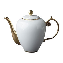 """L'Objet - L'Objet  Aegean 24kt Gold Tea/Coffeepot White - Our Aegean Collection inspired this traditional dinnerware with its timeless and delicate scalloped decal border. This sophisticated pattern is the ultimate layering accent. Limoges Porcelain, Made in Portugal. 3 Layers of Hand Applied 24K Gold Dishwasher safe on Delicate Setting. Not Microwavable. Measures: 7"""" , 52oz. L'Objet is best known for using ancient design techniques to createtimeless, yet decidedly modern serveware, dishes, home decor and gifts."""