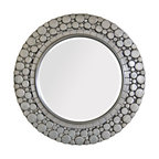 Bubble Rimmed Mirror - Deep carved texture, familiar from the frames of more traditional artworks and wall mirrors, takes on a curvaceous new twist in the Bubble Rimmed Mirror. This round mirror is painted a deep nickel hue to give metallic interest to each of the raised disks which, when crowded together in a circular frame, forms the textural pattern and its transitional weightlessness.