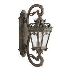 """KICHLER - KICHLER 9359LD Tournai Traditional European Outdoor Wall Sconce - With its heavy textures, dark tones, and fine attention to detail, the Tournai Collection stands out from other outdoor fixtures. Each piece is hand-made from cast aluminum, offering quality construction that is sure to withstand even the harshest of weather conditions. Our exclusive Londonderry finish and clear seedy glass panels give the piece its unique, aged look. If you want the classic profile of the wall lantern, this Tournai outdoor lamp deserves your attention. Its 4-light design uses 60-watt (max.) bulbs to deliver lighting ideal for everyday use. Although it measures 38"""" high, the fixture is provided with variable height mounting hardware. Junction box 11"""" - 33.25"""". It is U.L. listed for wet locations."""