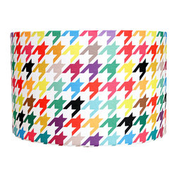 Mood Design Studio - Modern Lamp Shade - Happy Houndstooth - Mood Design Studio brings bold, modern, and colorful accessories into your home. All of our designs begin on paper by sketching ideas for fabric collections. We research color trends and mix in inspiration from the fashion runways as well as from our favorite mid century design books. Our fabrics are printed in the USA using eco friendly dyes and printing methods.