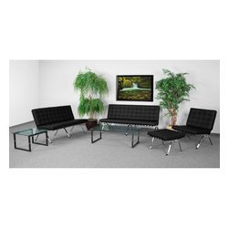Flash Furniture - Flash Furniture Reception Furniture Reception Grouping - Loveseat - Add a vintage contemporary flair to your waiting area or office. The Flash Series Reception furniture will adorn any office or waiting room setting with the button tufted cushions and designer legs. [ZB-FLASH-801-LS-BK-GG]