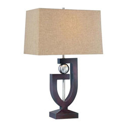 Minka Lavery - Minka Lavery 10050-0 Table Lamp In Dark Brown Wood+Brushed Nickel - Manufacturer: Minka Lavery
