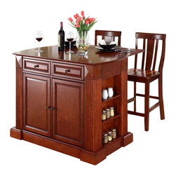 Crosley Furniture - Crosley Coventry Drop Leaf Breakfast Bar Kitchen Island with Stools in Cherry - Crosley Furniture - Kitchen Carts - KF300071CH