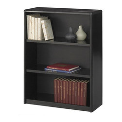 Safco - Value Mate Steel Bookcase w 3 Shelves in Black - Crafted of steel for strength and durability, this three-shelf bookcase will be a versatile addition to any office decor. Sized perfectly for binders, records, documents and more, the unit is finished in black powder coat with a fiberboard backing for added style. Accommodate 3-ring binders and large publications. Generous 12 in. deep shelves. 24 ga. material thickness. Adjustable shelf with 1 in. increment. Shelf capacity 70 lbs.. Back is made of solid fiberboard. Made from steel. Powder coat finish. 31.75 in. W x 13.5 in. D x 41 in. H (30 lbs.). Assembly InstructionEconomical, sturdy and strong with the ValueMate Bookcases you can't go wrong! Exquisitely showcase photographs, keepsakes, literature and resources - and these shelves are perfect for larger publications and 3-ring binders! Make it functional or fun for your executive office, conference room, meeting areas, reception areas, waiting room, library, media center, sales offices and even your home office. These beautifully designed bookcases add the little extra that your workspace needs.