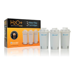 Brondell - H2O+ Water Pitcher Filter, Pack of 3 - The Brondell H2O+ Water Pitcher Filter Cartridge outperforms the top competition in four out of five tests.  The advanced 4-stage water filter dramatically reduces harmful heavy metals like Cadmium and Copper along with Aesthetic Chlorine, bad tastes and odors, making it safe and healthier for the whole family. Choose Brondell H2O+ for better water. Imported.