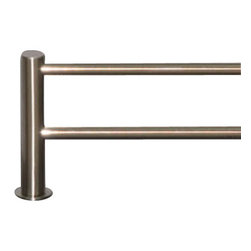 "Top Knobs - Hopewell Bath 30"" Double Towel Rod - Brushed Satin Nickel - Length - 31 1/2"", Projection - 5 7/8"", Center to Center - 30"", Bar Stock Diameter - 5/8"", Base Diameter - 1 1/2"" w (x) 1 1/2"" h"
