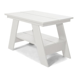 Loll Designs - Adirondack Table, Cloud White - Our modern Adirondack Table has been redesigned with all recycled poly and hidden fasteners. The Adirondack Table is available in all colors and with a convenient lower shelf for extra storage, it works well with any of our outdoor lounge chairs.