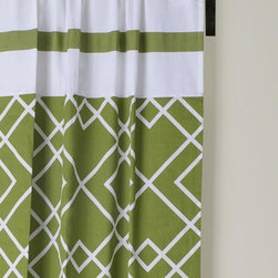 "Home Decorators Collection - Modern Twist Geometric Curtain Panel - Our exclusive Modern Twist Geometric Curtain Panel adds graphic interest to any window in your home. The panel is crafted of cotton satin with rod pockets. Coordinates with our Modern Twist Geometric Duvet Set. Machine washable, separately. 200 thread count. Panels are sold separately. 42""W in your choice of length."