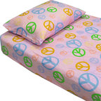 Country Club Products - Pink Peace Signs Hippie Bedding Twin Single Bed Sheets Set - FEATURES: