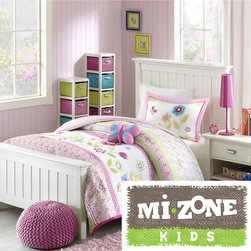 Mi-Zone - Mizone Kids Flower Power 4-piece Comforter Set - The charming Flower Power comforter set is adorned with pink,green and blue flowers to complete a young girl's blossoming bedroom. A pink border frames the comforter,and a pink and white gingham print covers the reverse.