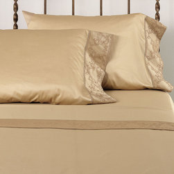 Frontgate - Palazzo Pillowcase - 600-thread count Egyptian cotton is sateen woven. Antique color option is yarn-dyed for an exceptionally rich color. Machine washable. Because this bedding is specially made to order, please allow 4-6 weeks for delivery.. Woven from Egyptian cotton, our Palazzo Duvet Cover and Sham rival the linens found in the world's finest hotels. A wonderful way to refresh your master suite, this duvet and matching sham feature regal scrollwork and intricate hemstitching that evoke Venice's majestic palaces.  .  .  . . Made in USA of imported goods. Part of the Palazzo Collection.