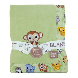 "Trend Lab - Receiving Blanket - Framed Chibi Zoo - Keep your little one warm and secure with this Chibi Zoo Framed Receiving Blanket by Trend Lab. Soft sage coral fleece is surrounded by a charming cotton percale trim that features a scatter print of zoo animals in sage, gray stone, sky blue, caramel, buttercup, chocolate and white. A monkey embroidered applique in the corner adds the finishing touch! Blanket measures 30"" x 40""."