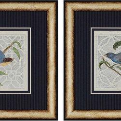 Paragon Decor - Monument Set of 2 Artwork - Bluebirds take flight with navy blue striped matting.