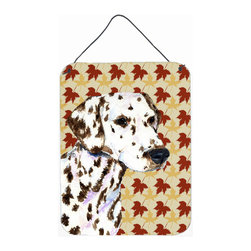 Caroline's Treasures - Dalmatian Fall Leaves Portrait Aluminium Metal Wall Or Door Hanging Prints - Great for inside or outside these Aluminum prints will add a special touch to your kitchen, bath, front door, outdoor patio or any special place.  12 inches by 16 inches and full of color.  This item will take direct sun for a while before it starts to fade.  Rust and Fade resistant.  Aluminum Print with Hanging Rope.  Rounded Corners.
