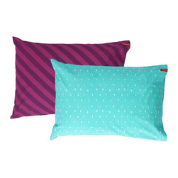 SWENYO - Teal Triangle and Purple Stripe Pillow Case Set - Same is lame. Our unique pillowcases will add color and personality to any space. Hand-selected by our team of designers, this contrasting pillowcase set has vibrant colors and an incredibly soft feel finished with our signature red SWENYO tag.