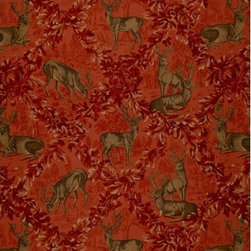 Schumacher - Woburn Meadow Fabric, Red - Going stag: This dramatic fabric recalls the intricacy and craftsmanship of hunt scene tapestries, in rich tones of ruby and sage green. Whether standing alone, or party to a mix of patterns, this design will add a stunning presence to your room.