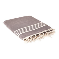 """Indigo&Lavender - 37"""" x 70"""" Hammam Towel, with Terry Lining, Dark Grey - Fabulously colorful hammam towels made of soft high-quality Turkish cotton. Hammam towels are more absorbent and dry more quickly than ordinary bath towels. This towel is doubled with a terry lining for extra absorption power."""