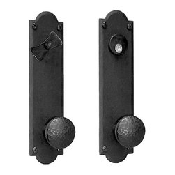 Hammered Knob Entrance Set - This hand-forged iron entry set features rough iron in its characteristic deep black color. The round, hammered knobs add a touch of flair to the simple set.