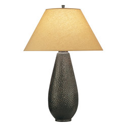 Robert Abbey - Beaux Arts Table Lamp - Hammer it out — in cast metal, that is. This shapely lamp's cast-metal base has plenty of eye-catching texture. It looks fabulous set atop your end tables in the living room or on a desk in your home office.