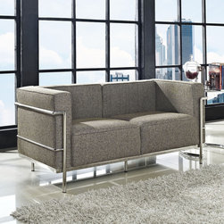 Charles Grande Loveseat in Oatmeal (EEI-282-OAT) - Urban life has always a quandary for designers. While the torrent of external stimuli surrounds, the designer is vested with the task of introducing calm to the scene. From out of the surging wave of progress, the most talented can fashion a forcefield of tranquility. Perhaps the most telling aspect of the Charles series is how it painted the future world of progress. The coming technological era, like the externalized tubular steel frame, was intended to support and assist human endeavor. While the aesthetic rationalism of the padded leather seats foretold a period that would try to make sense of this growth. The result is an iconic sofa series that became the first to develop a new plan for modern living. If previous generations were interested in leaving the countryside for the cities, today it is very much the opposite. If given the choice, the younger generations would rather live freely while firmly seated in the clamorous heart of urbanism. The Charles series is the preferred choice for reception areas, living rooms, hotels, resorts, restaurants and other lounge spaces. Set Includes: One - LC3