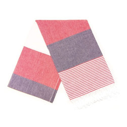 Marine Turkish Bath Towel - Red - Absorbs water fast and dries quickly, this traditional Turkish towel takes up less space than a standard towel and is a great alternative in the bathroom. From yoga classes to beach sports to baby care, this cotton towel is also perfect as a light weight throw for many uses.