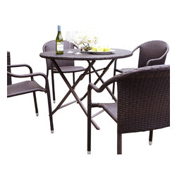 Crosley - Palm Harbor 5 Piece Caf�' Dining Set - Dimensions: Table:    41 Diam. x 32.5H in.