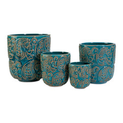 iMax - Paisley Blue Planters, Set of 4 - This set of four ceramic Paisley blue planters add color and style to any indoor plants.