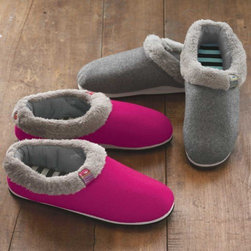 Viva Terra - Eco Slippers - Pink (size 7) - At long last, the perfect solution to keeping slippers clean: a removable, machine washable liner. The striped cotton foot-bed of these eco-slippers has the comfort of your favorite t-shirt and the felted wool shell acts as a natural insulator. An outdoor sole makes them all the more indispensable. A portion of each sale supports projects that provide clean drinking water to Kenyan communities in need.