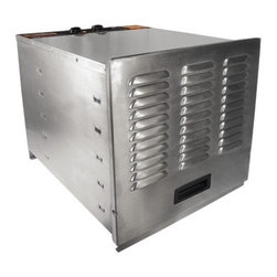 """Weston - Stainless Steel Food Dehydrator - Features: -Food dehydrators preserve fruit, meat, vegetables, herbs. -Oven features 10 chrome plated steel racks. -Retains natural flavor of foods without additives or preservatives. -Make great take along snacks for hunting, fishing, camping or road trips. -Dehydrated foods easily release from trays. -Over 15 square feet of drying space. -1000 watt heating element. -10 hour timer. -Ultra quiet 6.5"""" fan. -Each drying tray measures 14.25"""" x 10.75"""". -Rear mounted drying system circulates air from back to front through each tray. -Tray rotation not necessary. -Color coded thermostat adjusts from 84 to 155 degrees F. -Material: Heavy duty stainless steel. -Includes instructions and recipe book. -Weston provides limited one year warranty. -20"""" H x 19.3"""" W x 22.4"""" D."""