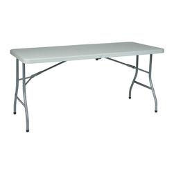 Office Star - Work Smart Resin 5 ft. Resin Multi Purpose Center Fold Table with Wheels - 5' resin multi purpose center fold table with wheels