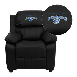 "Flash Furniture - Blinn College Buccaneers Embroidered Black Leather Kids Recliner - Get young kids in the college spirit with this embroidered college recliner. Kids will now be able to enjoy the comfort that adults experience with a comfortable recliner that was made just for them! This chair features a strong wood frame with soft foam and then enveloped in durable vinyl upholstery for your active child. This petite sized recliner features storage arms so kids can store items away and retrieve at their convenience.; Blinn College Embroidered Kids Recliner; Embroidered Applique on Headrest; Overstuffed Padding for Comfort; Durable Black Leather Upholstery; Easy to Clean Upholstery with Damp Cloth; Flip-Up Storage Arms; Storage Arm Size: 3.25""W x 6""D x 11""H; Solid Hardwood Frame; Raised Black Plastic Feet; Intended use for Children Ages 3-9; 90 lb. Weight Limit; Meets or Exceeds CA117 Fire Resistance Standards; Safety Feature: Will not recline unless child is in seated position and pulls ottoman 1"" out and then reclines; Assembly Required: Yes; Country of Origin: China; Warranty: 2 Years; Weight: 29 lbs.; Dimensions: 28""H x 25""W x 26 - 39""D"