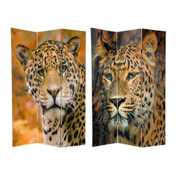 Oriental Furniture - 6 ft. Tall Double Sided Leopard Room Divider - Two outstanding, compelling close up photos of one of natures most compelling creations; an African spotted leopard. These are powerful, majestic creatures, with stunning coats to help them hide while they stalk their prey. Their amazing beauty helps us forgive their predatory natures, as they fulfill their roles in the cycle of life on the African savannah; they are just undeniably, incredibly beautiful.